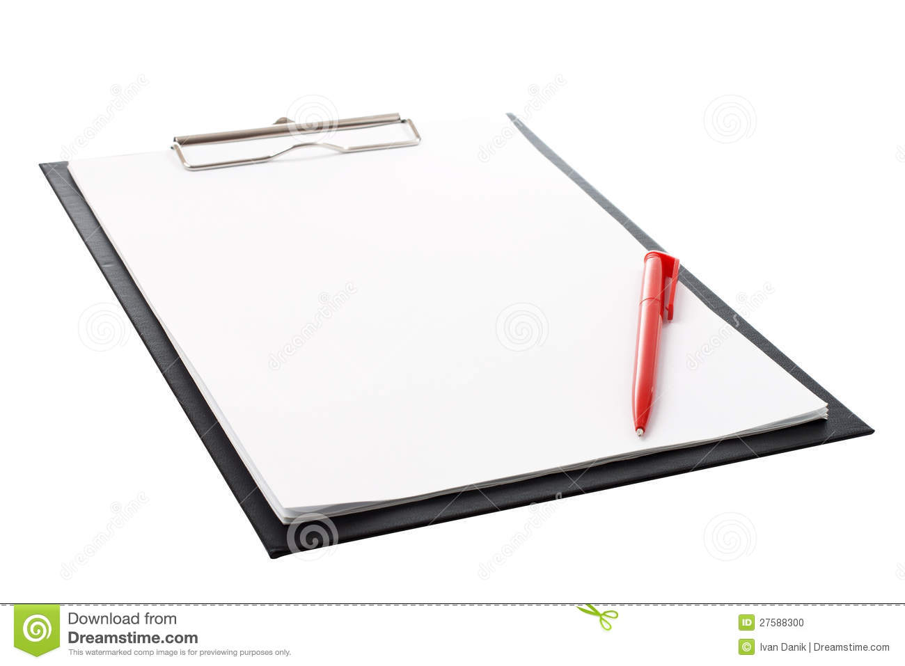 Black Clip Board With Blank Paper And Pen Stock Photo