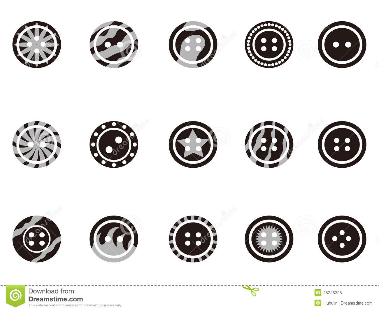 Black Clothing Button Icons Royalty Free Stock Photo