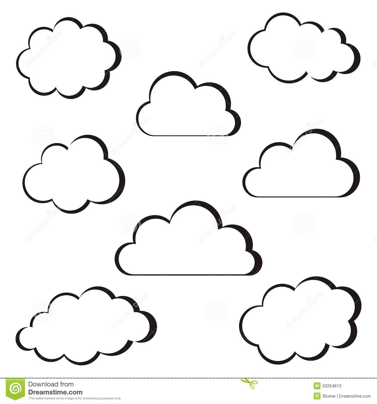 Black Clouds Outline Stock Vector