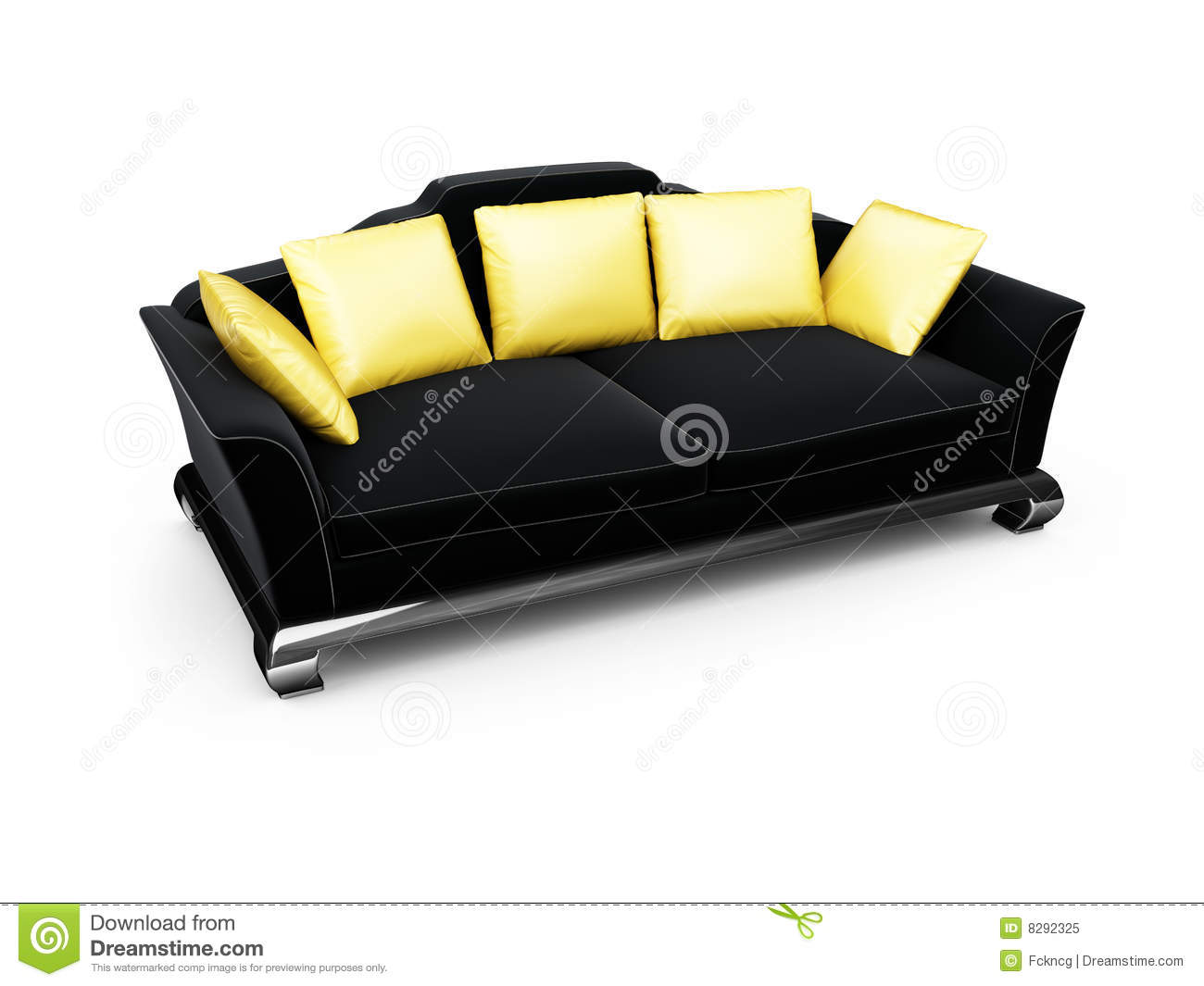 Black Couch With Gold Pillows Over White Stock Illustration Illustration Of Rest Render 8292325