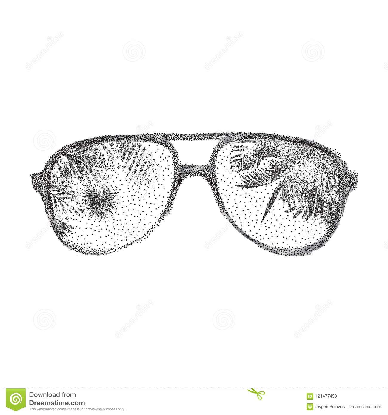 Black Dotted Sunglasses Stock Vector Illustration Of