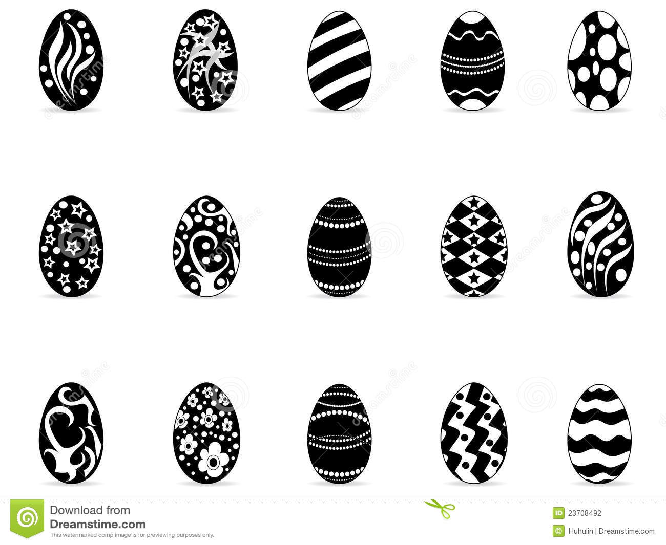Black Easter Egg Icons Stock Photography