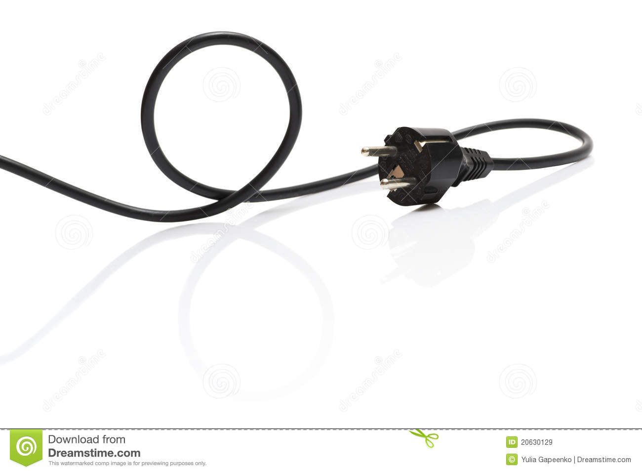 Black Electric Cable Isolated Royalty Free Stock Images