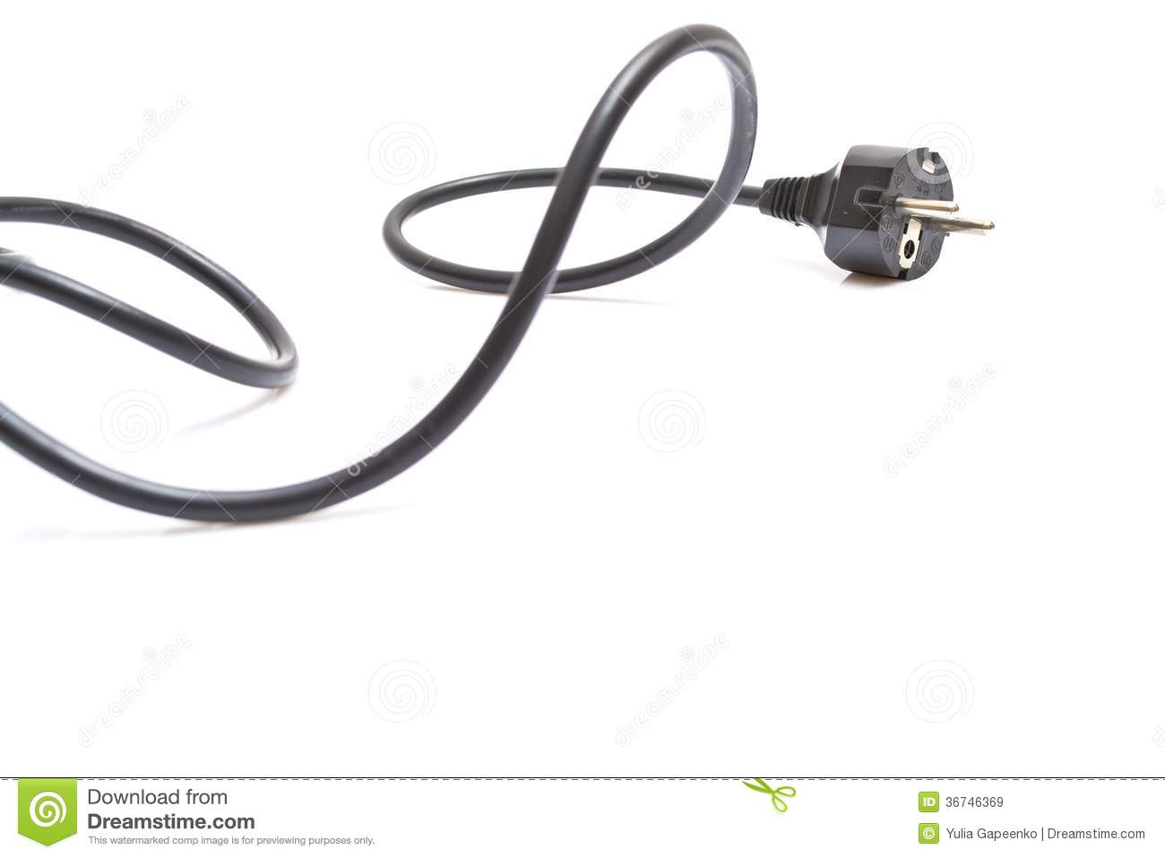 Black Electric Cable On White Royalty Free Stock Images
