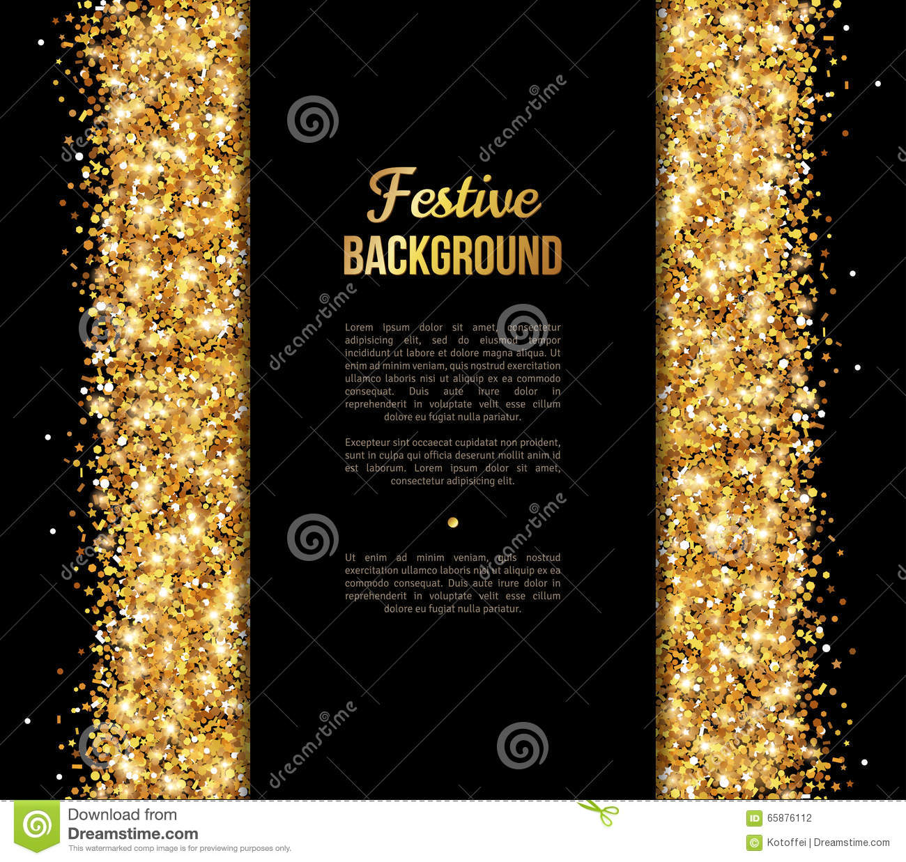Black And Gold Banner Greeting Card Design Stock Vector