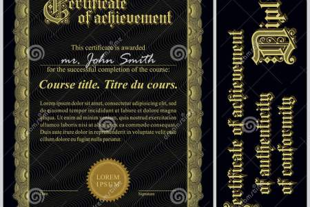 Black And Gold Certificate  Template  Vertical  Stock Vector     Black and gold certificate  Template  Vertical