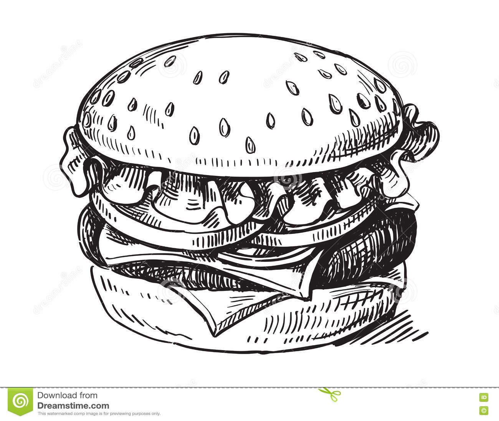 Black Hand Drawn Hamburger Stock Vector