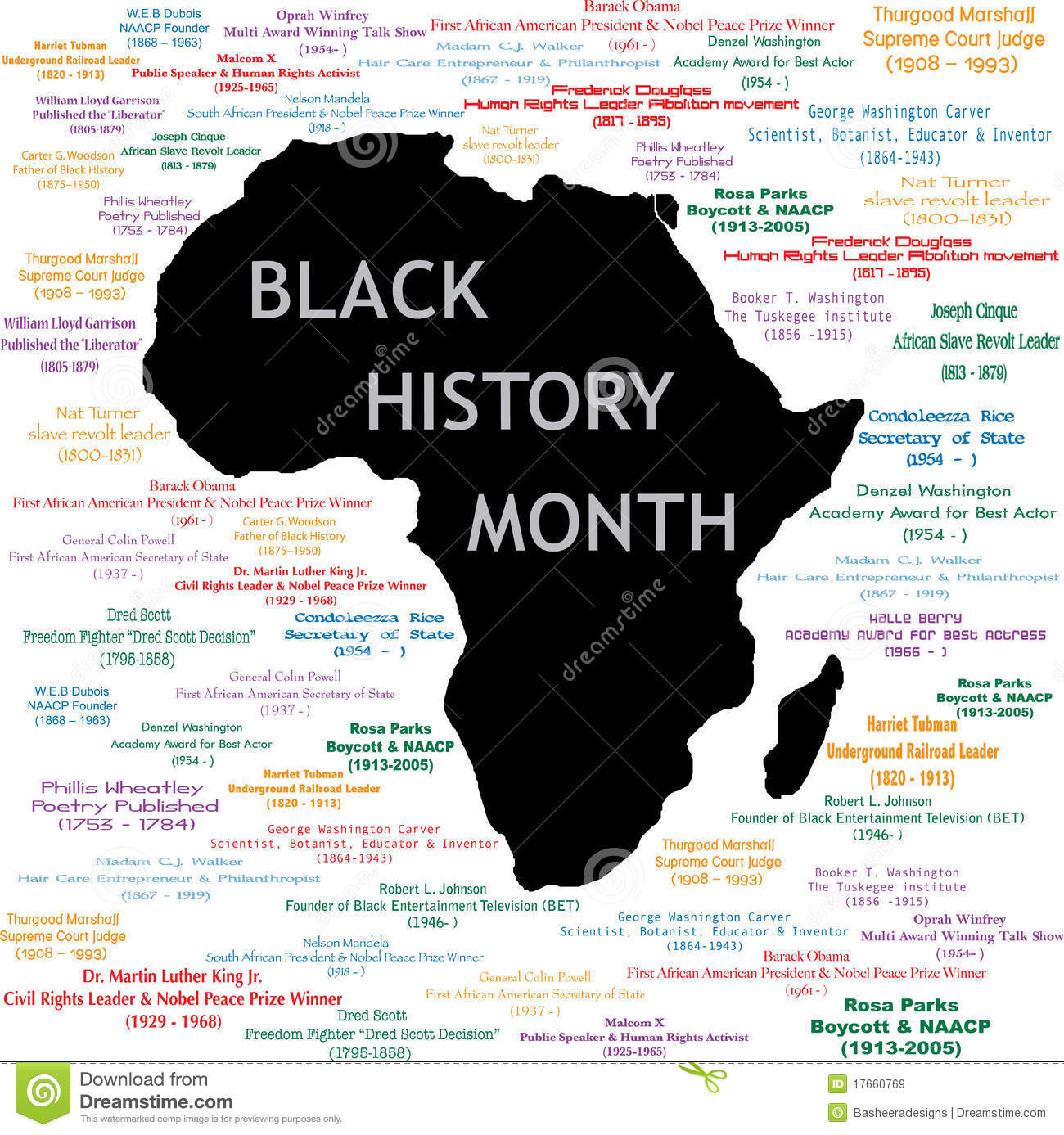 Black History Month Collage Stock Vector