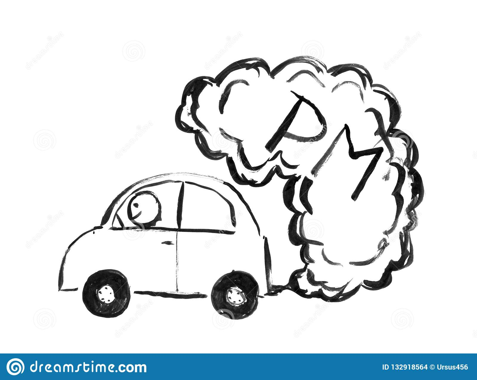 Black Ink Hand Drawing Of Car Producing Pm Air Pollution