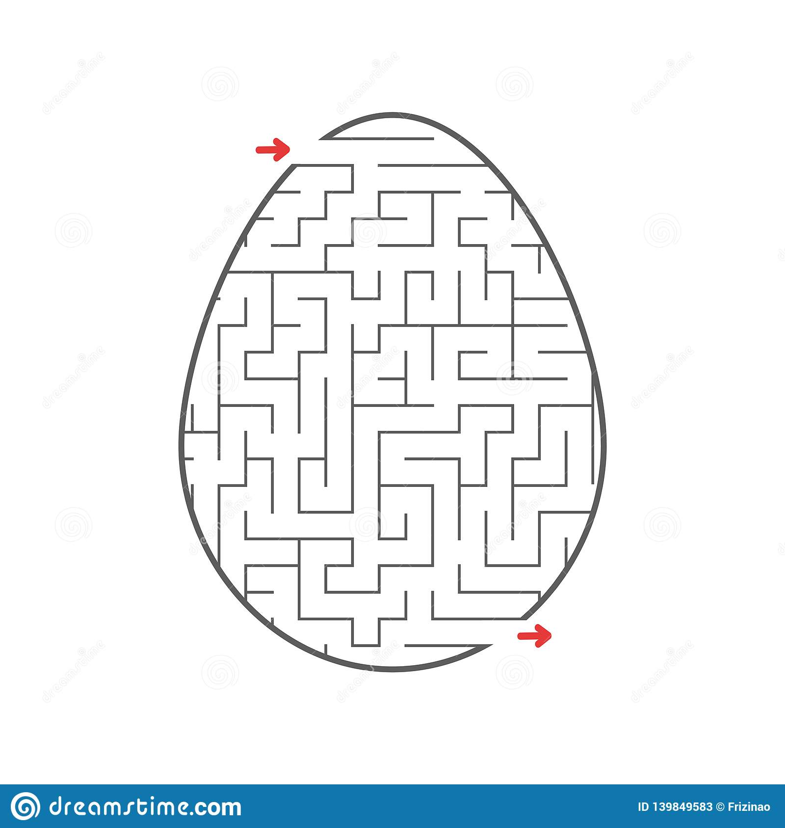 Black Labyrinth Egg Kids Worksheets Activity Page Game Puzzle For Children Easter Holiday