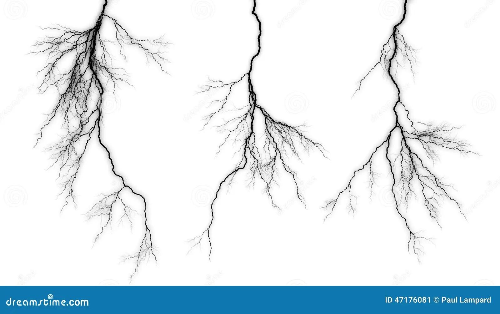 Black Lightning On A White Background Stock Illustration
