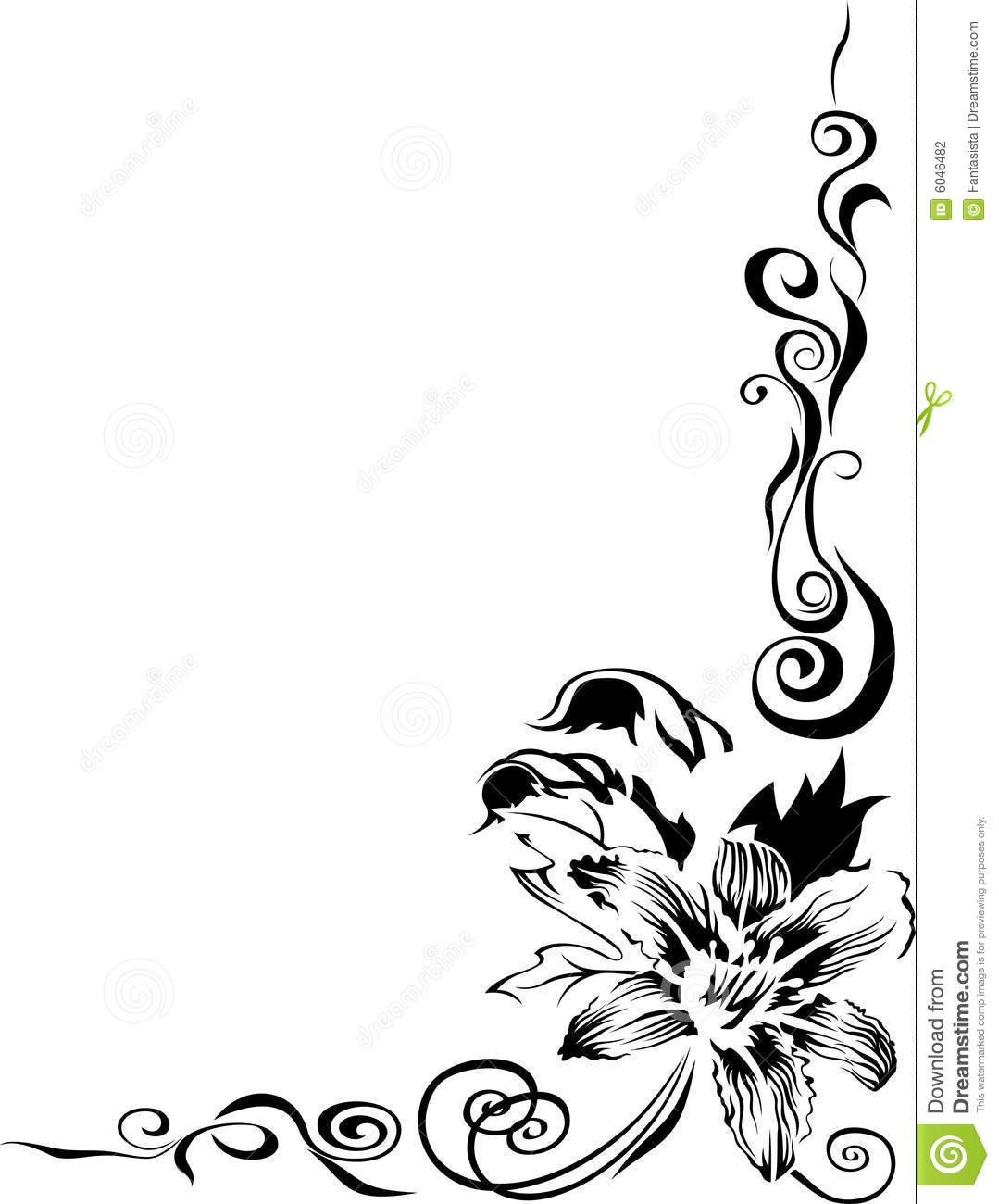 Black Flower Pattern Border