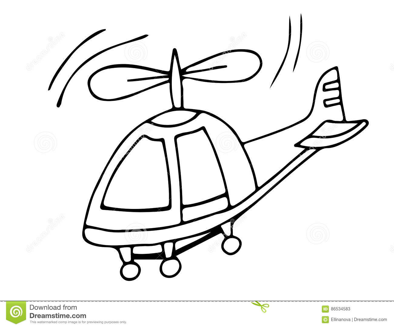 Black Line Helicopter On The White Background Stock Vector