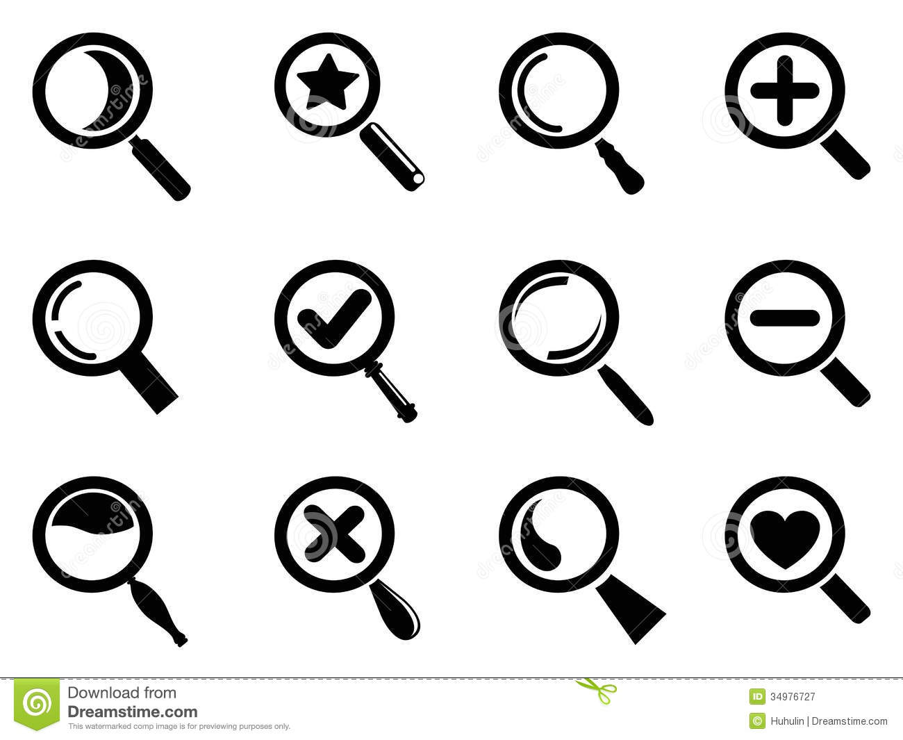 Black Magnifying Glass Icons Set Royalty Free Stock