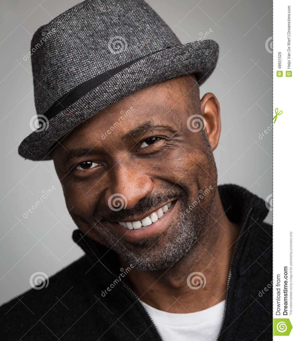 Black Man With Stubble Wearing A Hat Stock Image Image