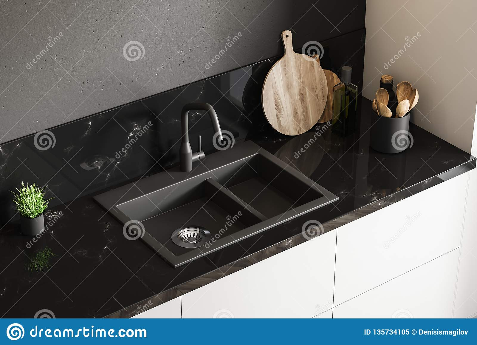 https www dreamstime com black marble kitchen sink top view standing white countertop room walls wooden round cutting board little potted image135734105