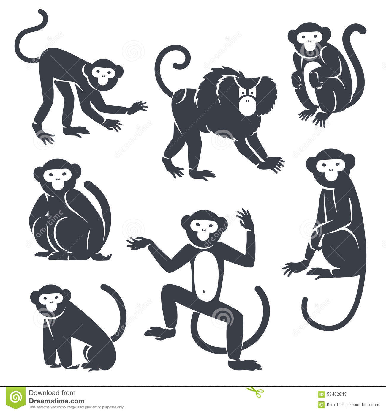 Black Monkeys Silhouettes On White Stock Vector