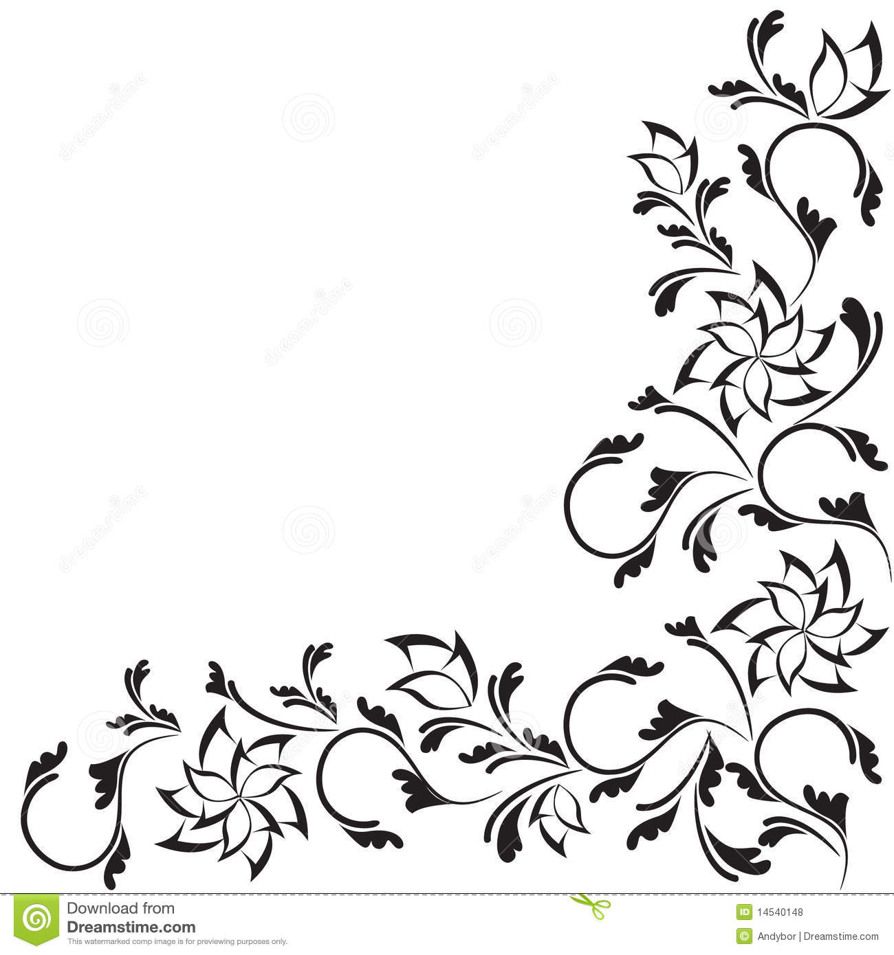 Black Ornate Floral Design Isolated On White Stock Vector