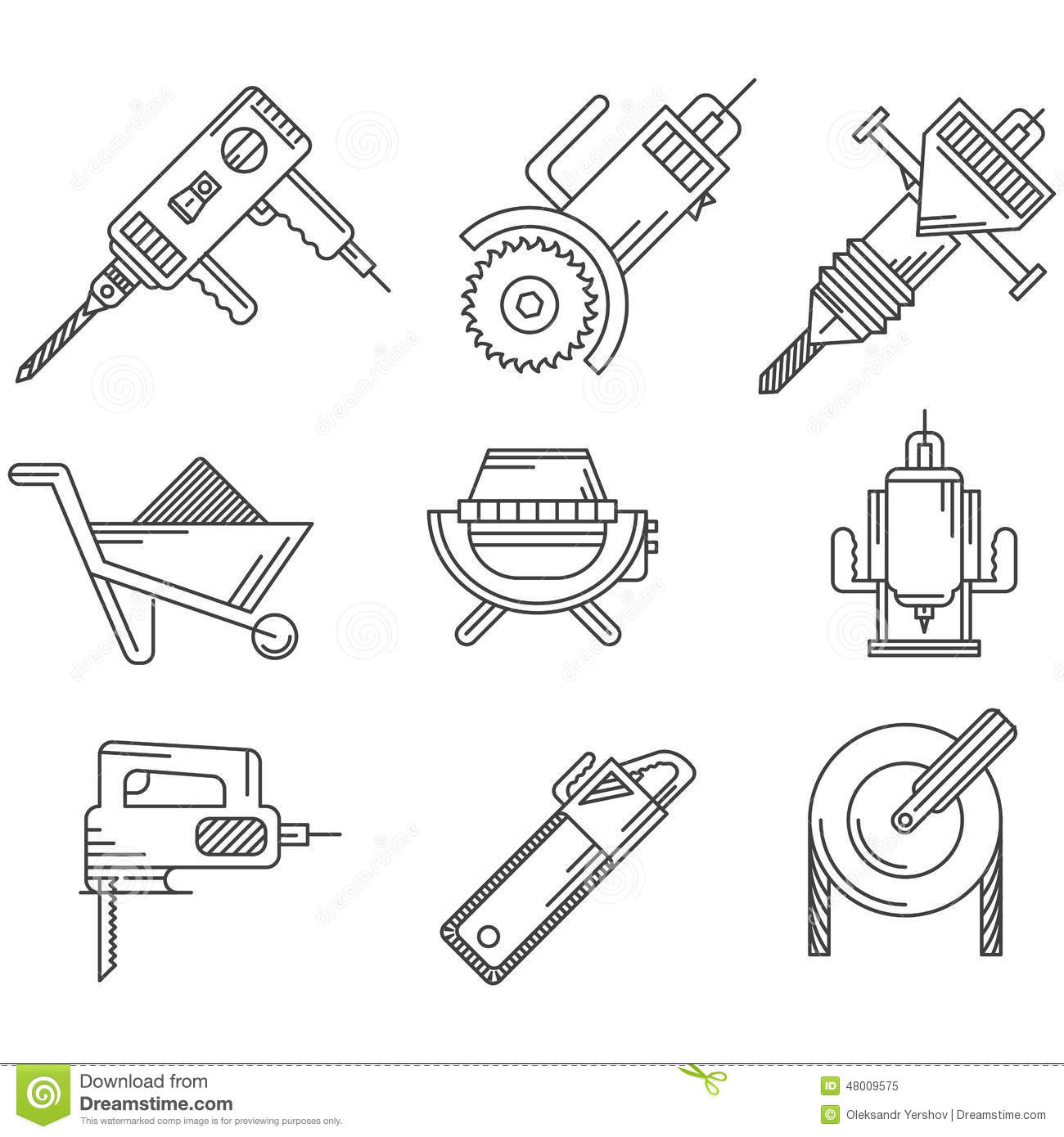 Black Outline Icons For Construction Equipment Stock Photo