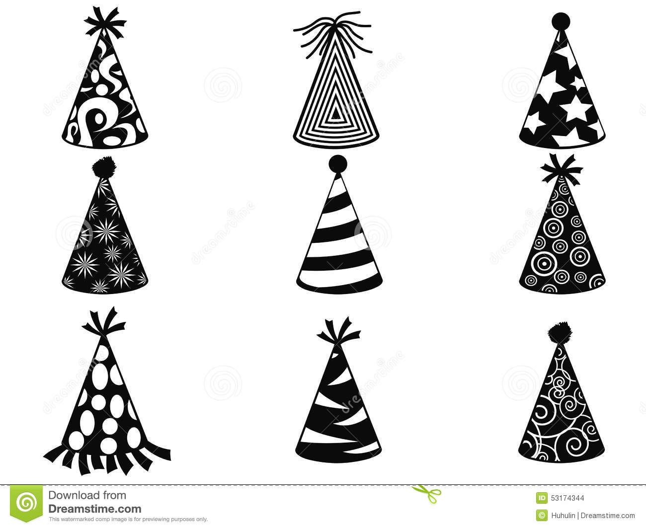 Black Party Hat Icons Set Stock Vector