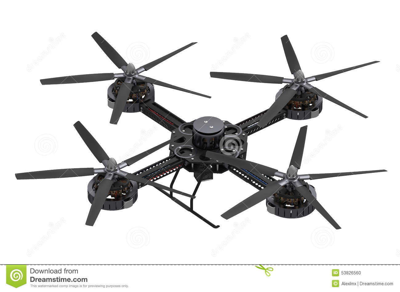 Black Quadcopter Drone With Camera Stock Illustration