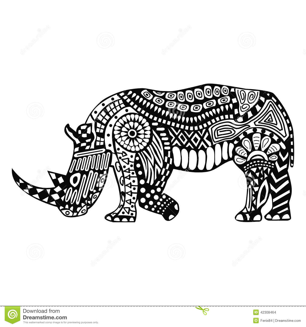 Black Rhino With Patterns On Body Stock Vector Image