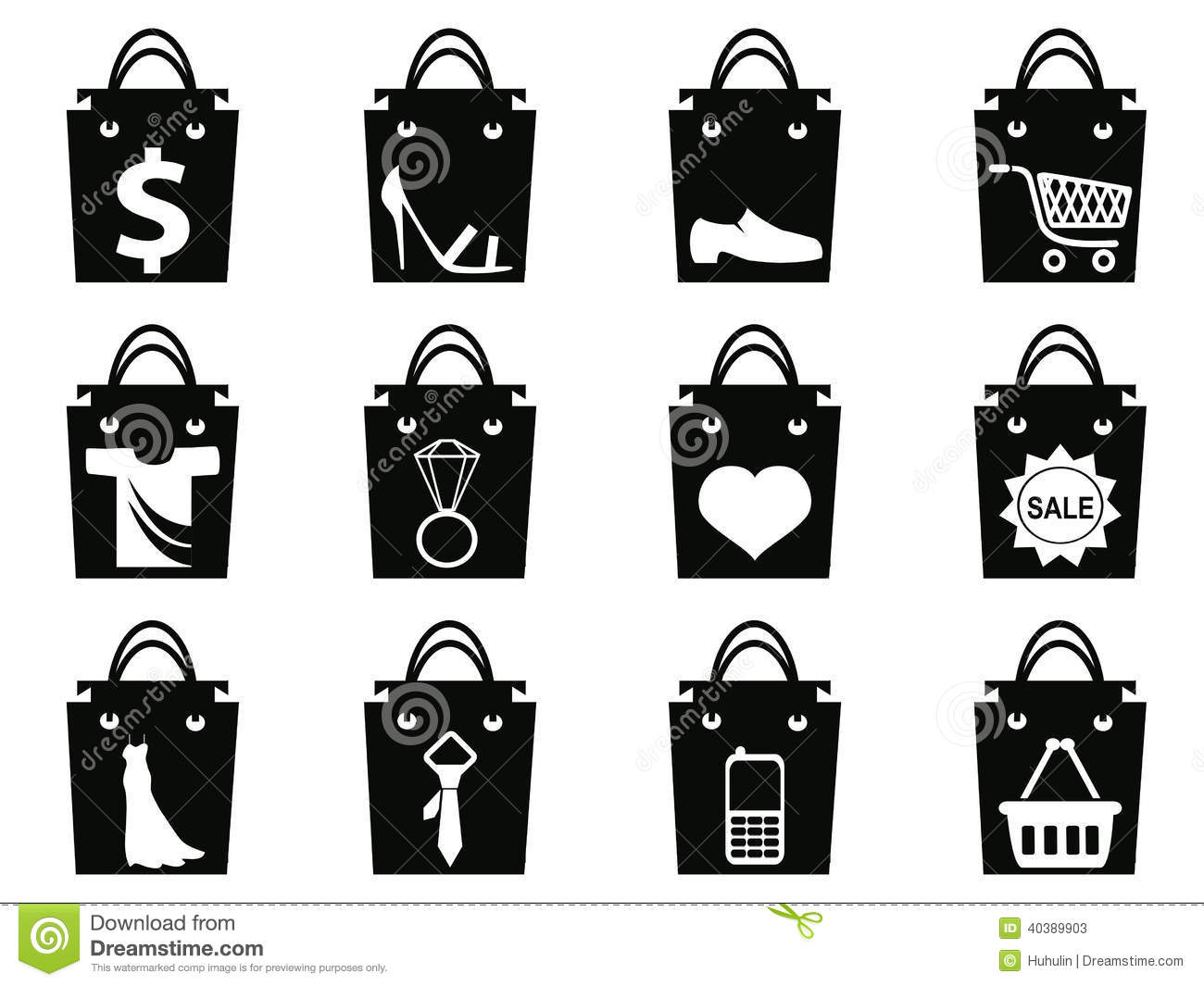 Black Shopping Bag Icons Set Stock Vector