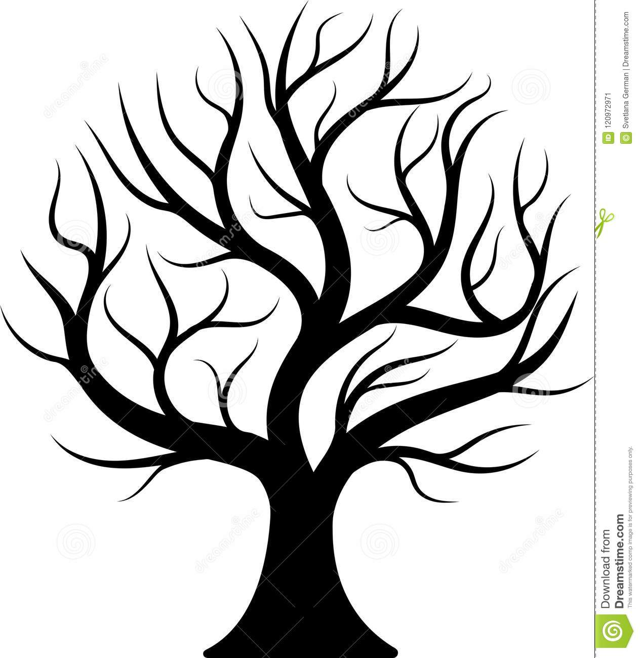 Black Silhouette Bare Tree Stock Vector Illustration Of