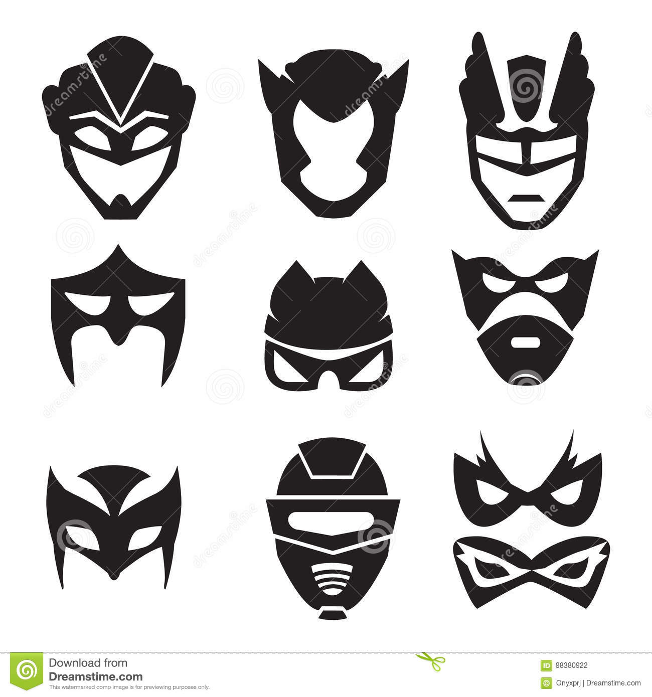 Set Of Colorful Superhero Mask Cartoon Vector