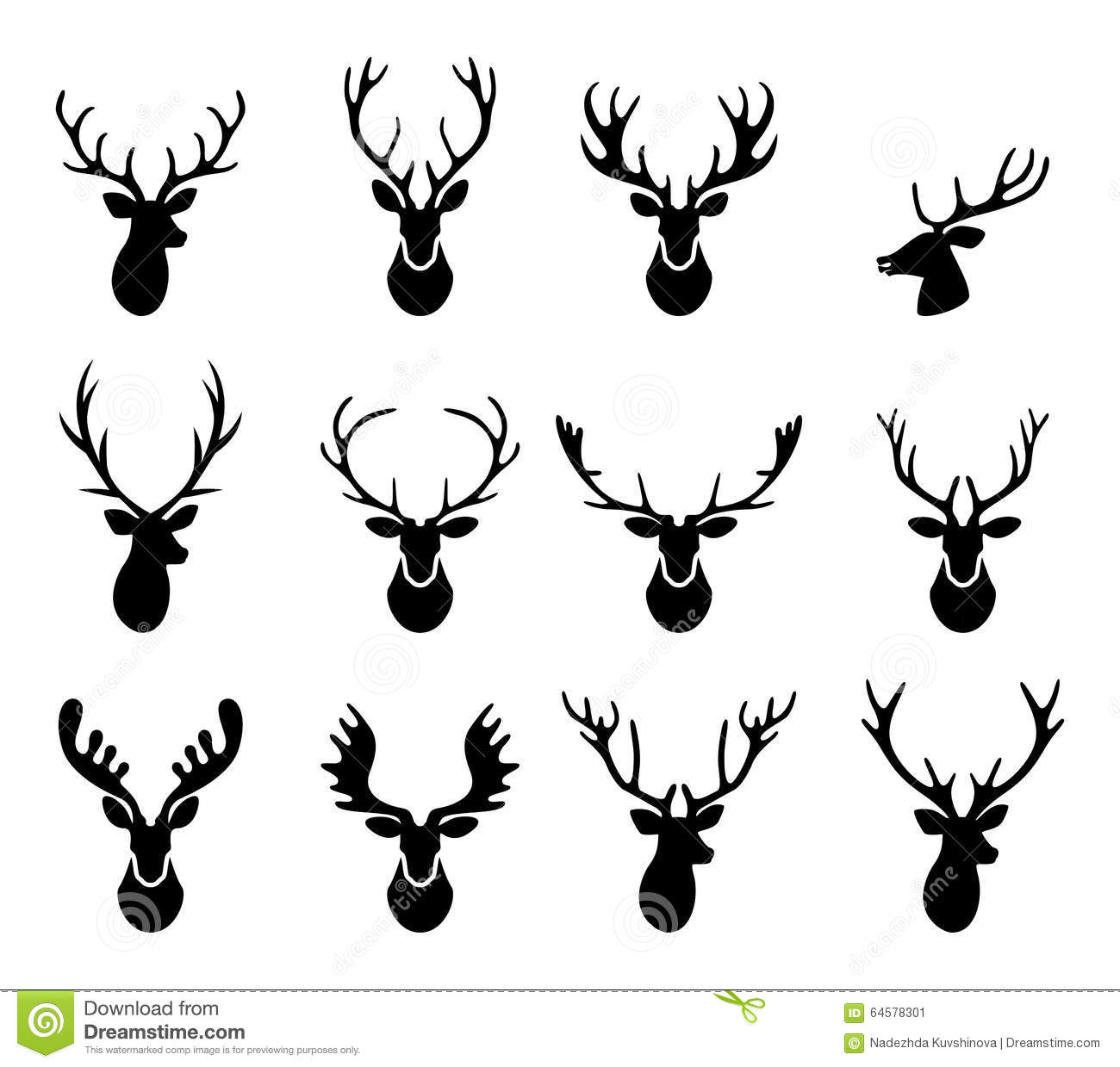 Black Silhouettes Of Different Deer Horns Vector Stock
