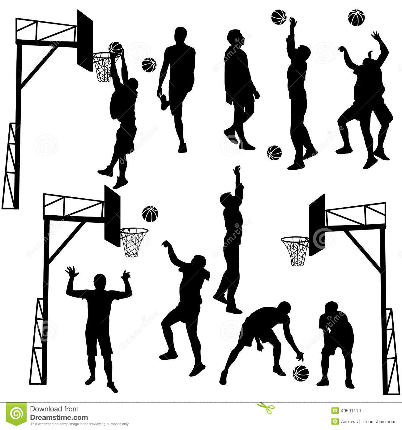 Black Silhouettes Of Men Playing Basketball On A White