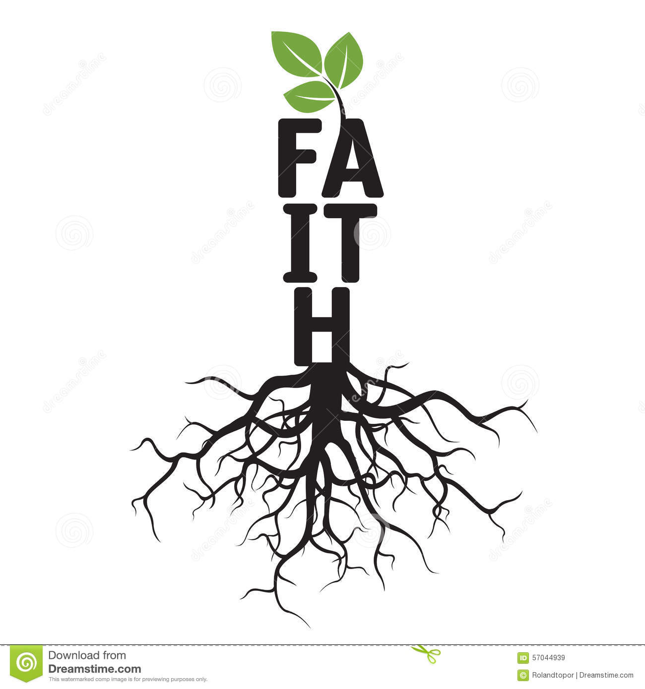 Black Tree Roots And Text Faith Stock Illustration