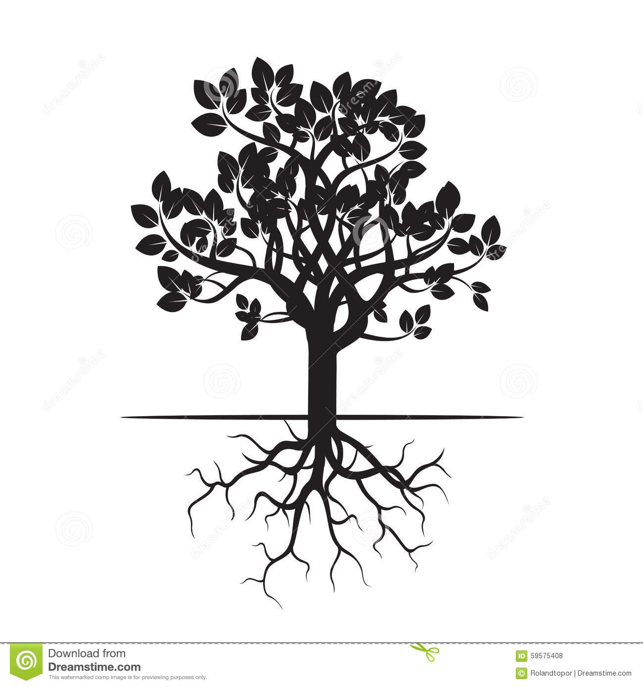 Black Tree And Roots Stock Illustration Image Of Tree