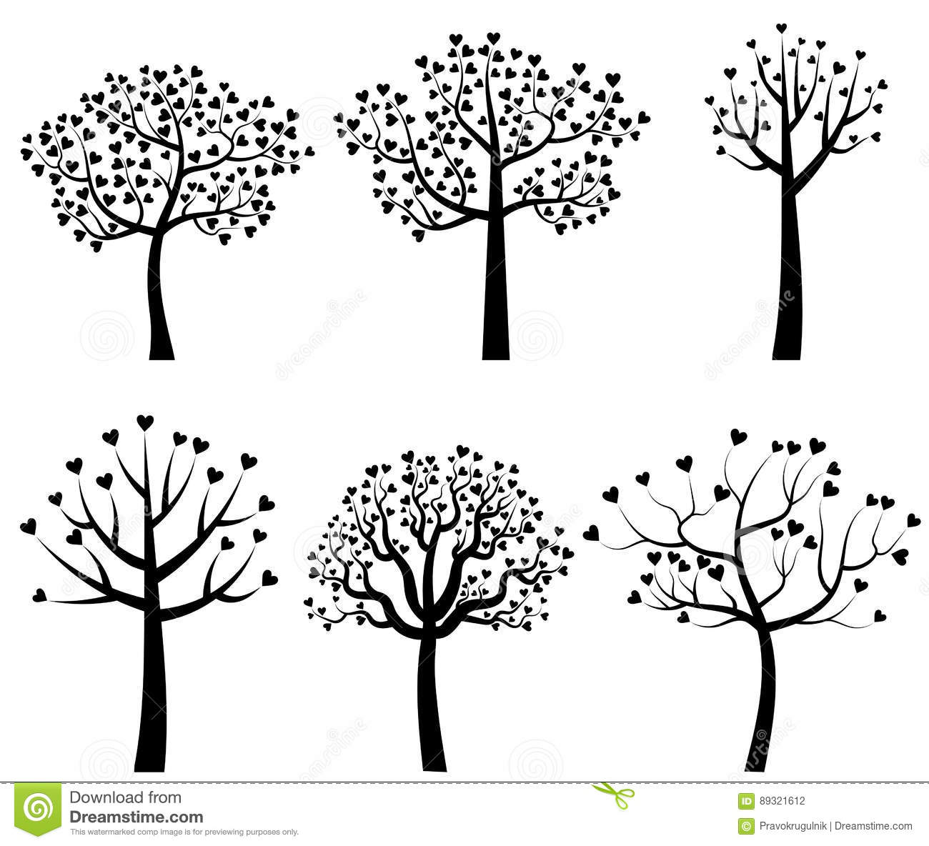 Black Tree Silhouettes With Heart Shaped Leaves Stock