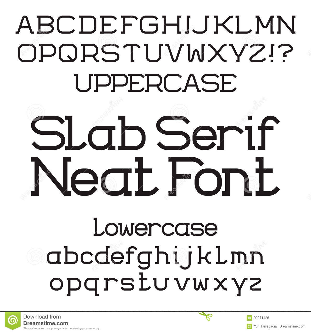 Black Uppercase And Lowercase Letters Neat Slab Serif Font Stock Vector