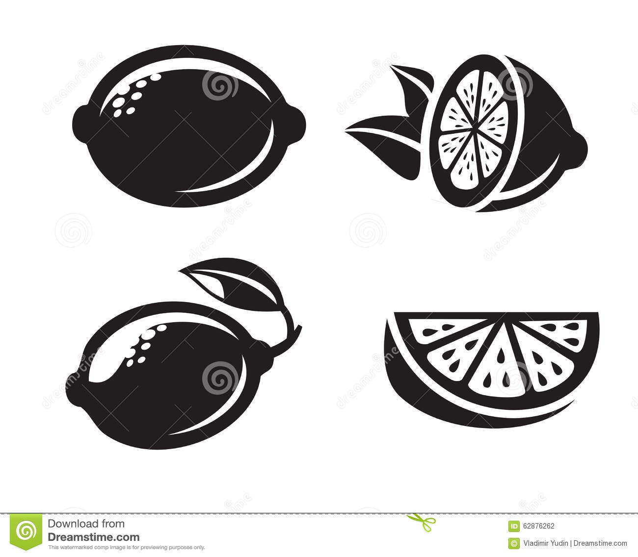 Black Vector Lemon Stock Vector