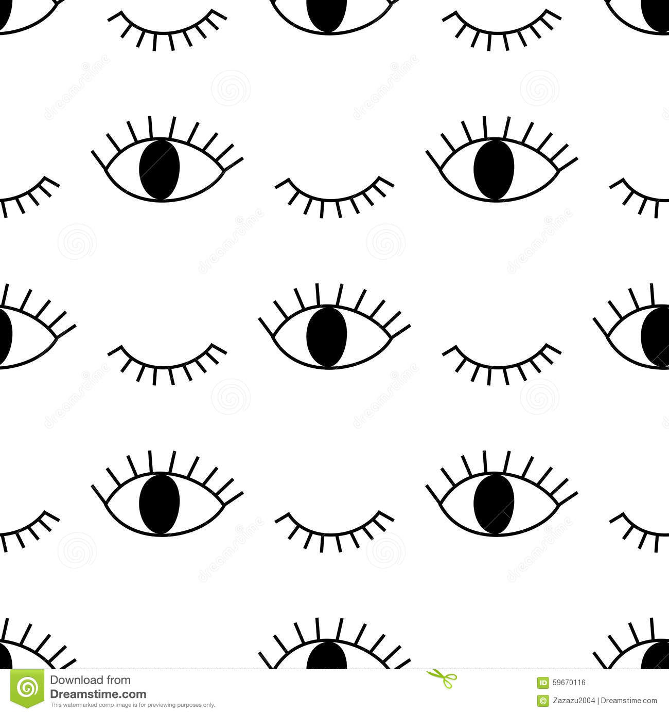 Black And White Abstract Pattern With Open And Winking