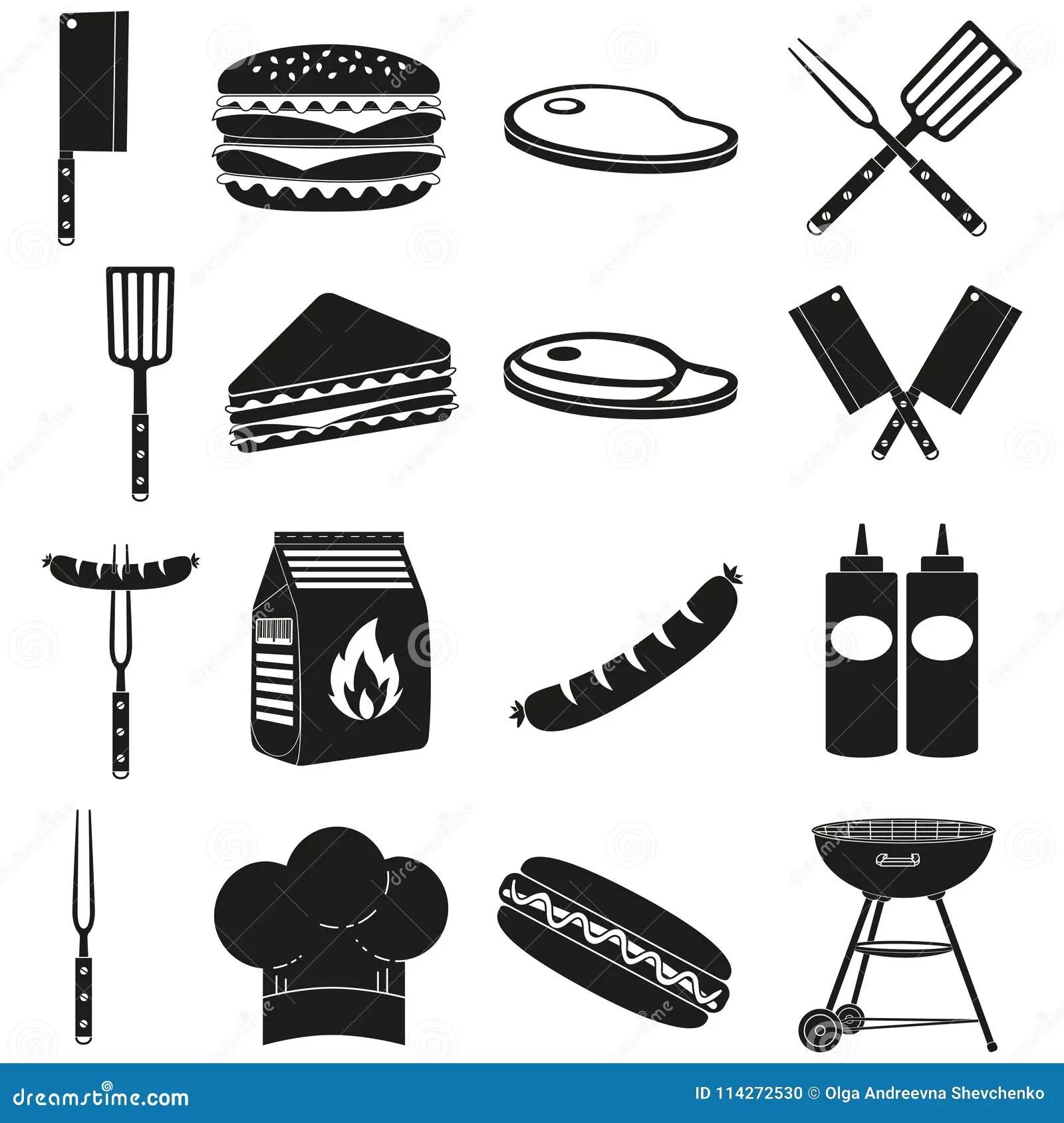 Black White Bbq Outdoors 16 Element Silhouette Set Stock