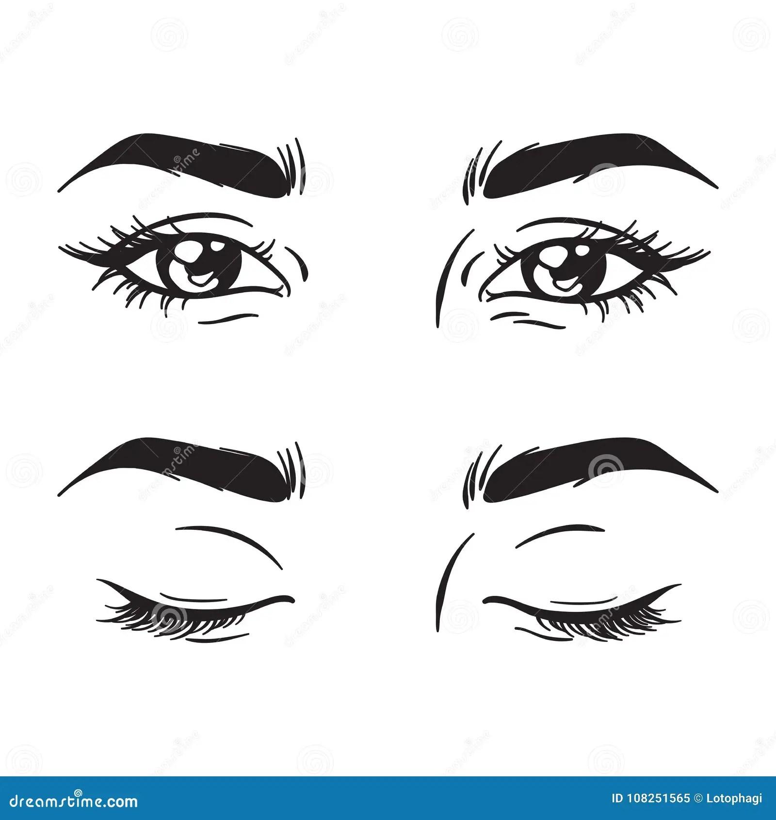 Black And White Beautiful Female Eyes Set