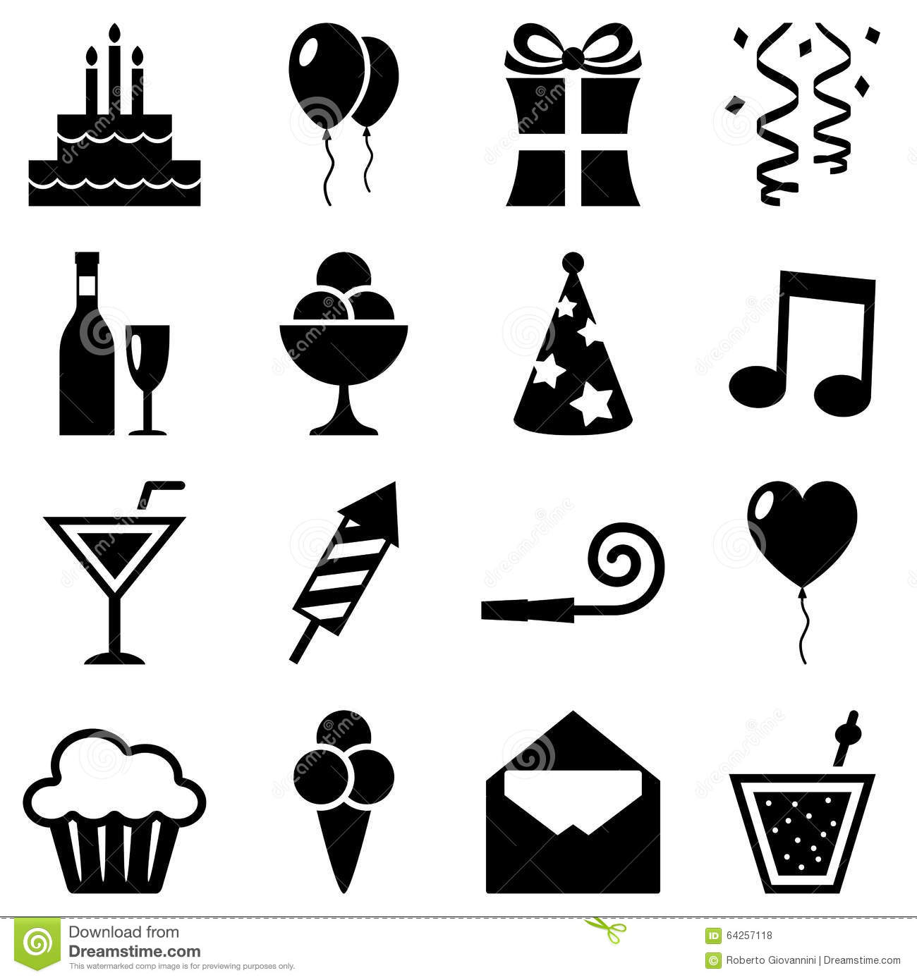 Black And White Birthday Icons Collection Stock Vector