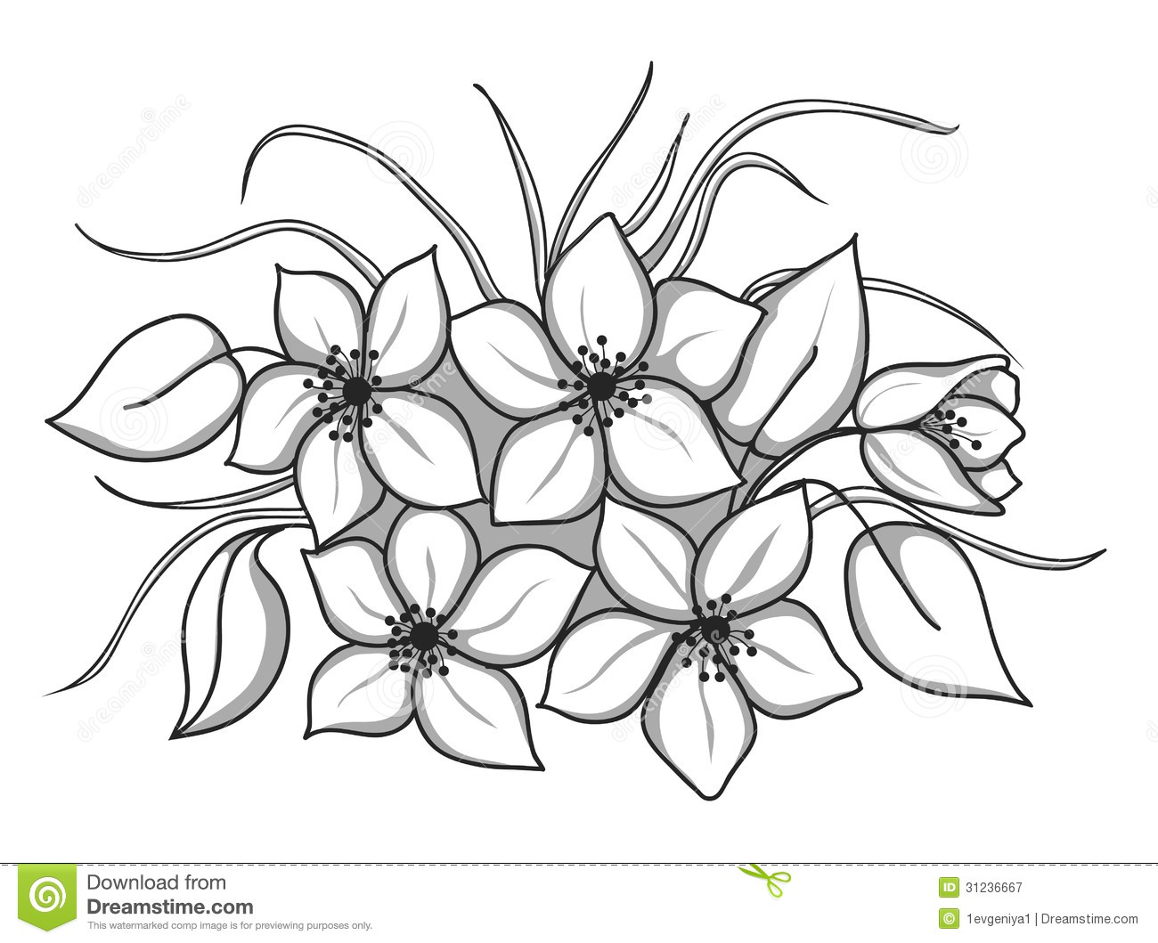 Black And White Bouquet Of Flowers With Leaves And Grass