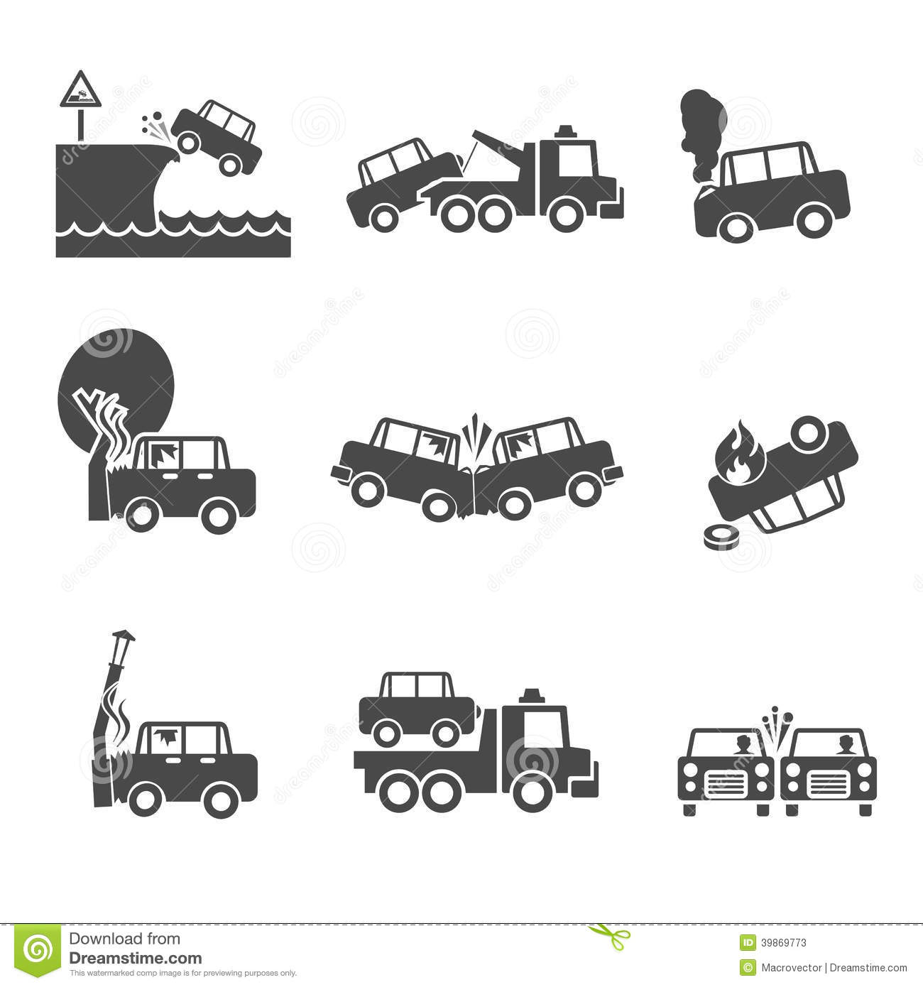 Black And White Car Crash Icons Stock Vector