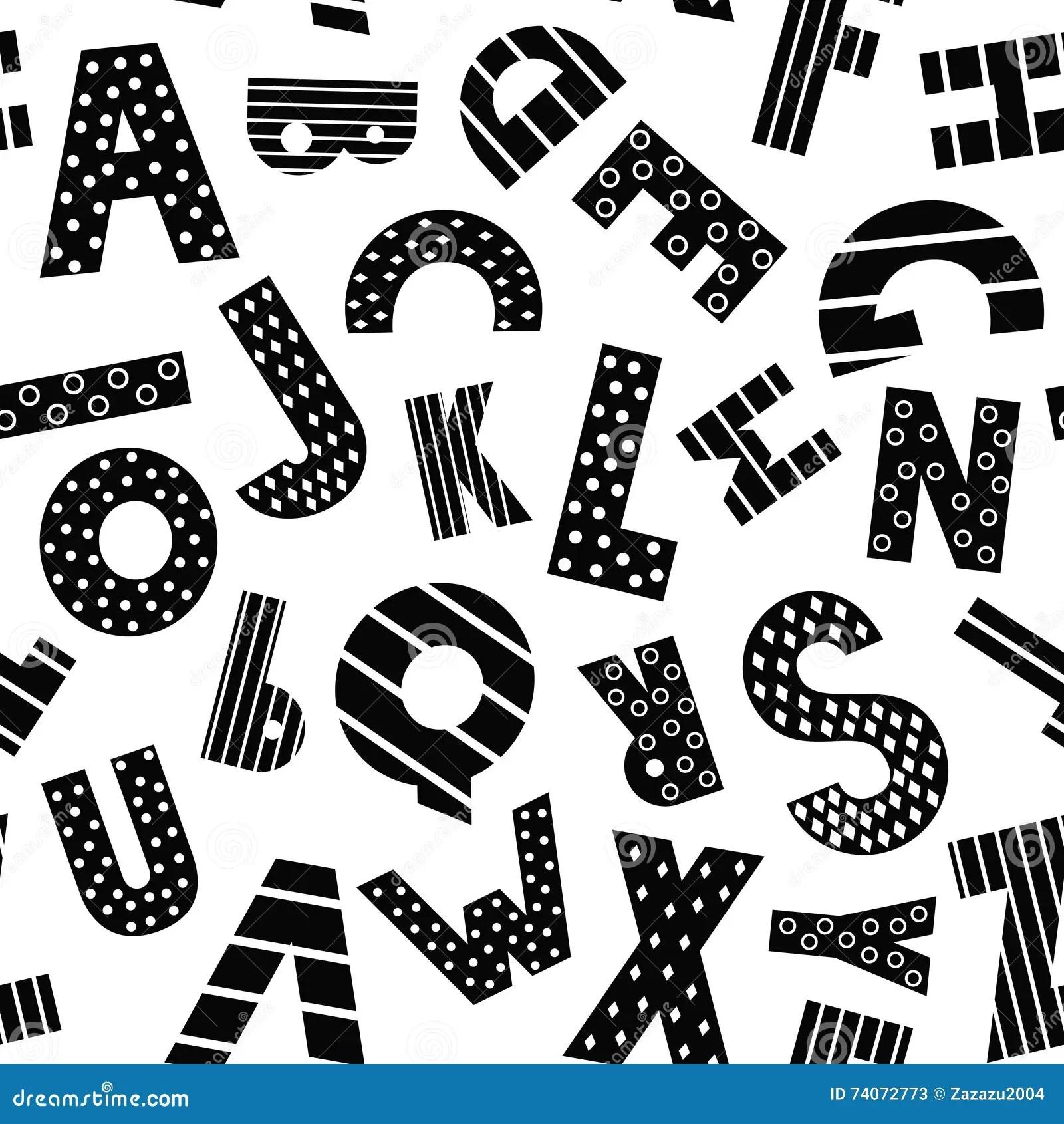 Black And White Cartoon Alphabet Seamless Pattern Stock