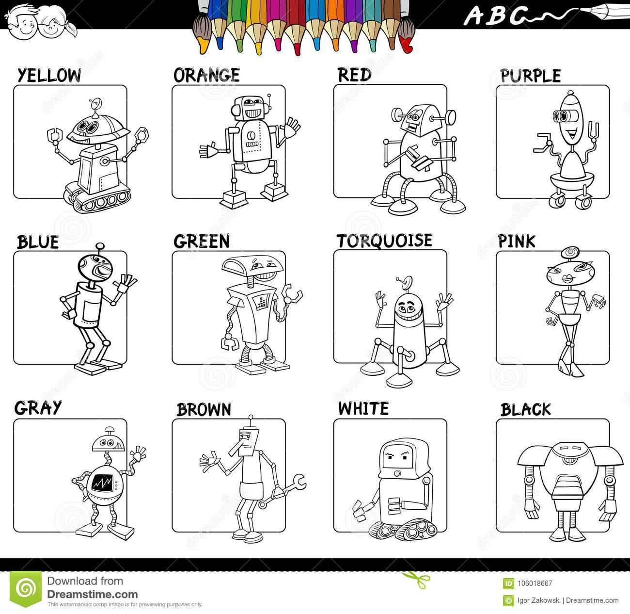Basic Colors Set Worksheet For Coloring Stock Vector