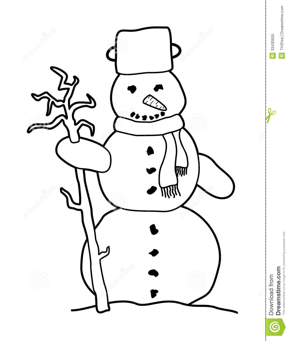 Black And White Cartoon Snowman Royalty Free Stock Photo