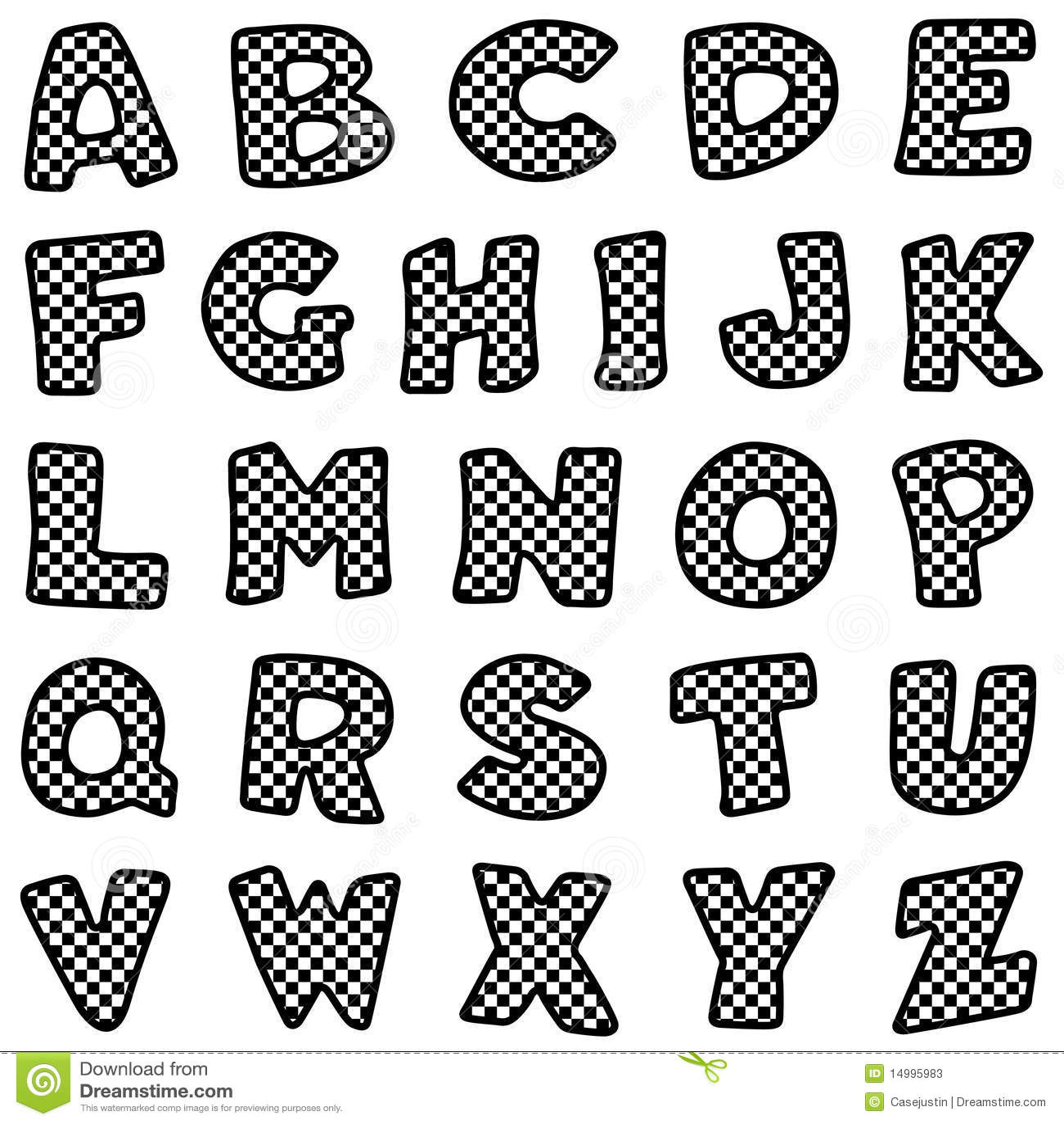 Black Amp White Check Alphabet Stock Vector