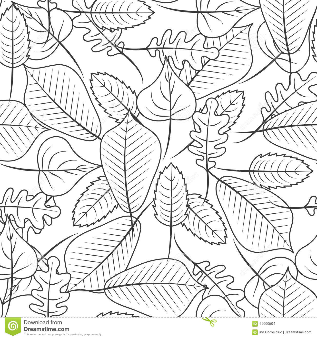 Black And White Coloring Leaves Seamless Pattern Stock