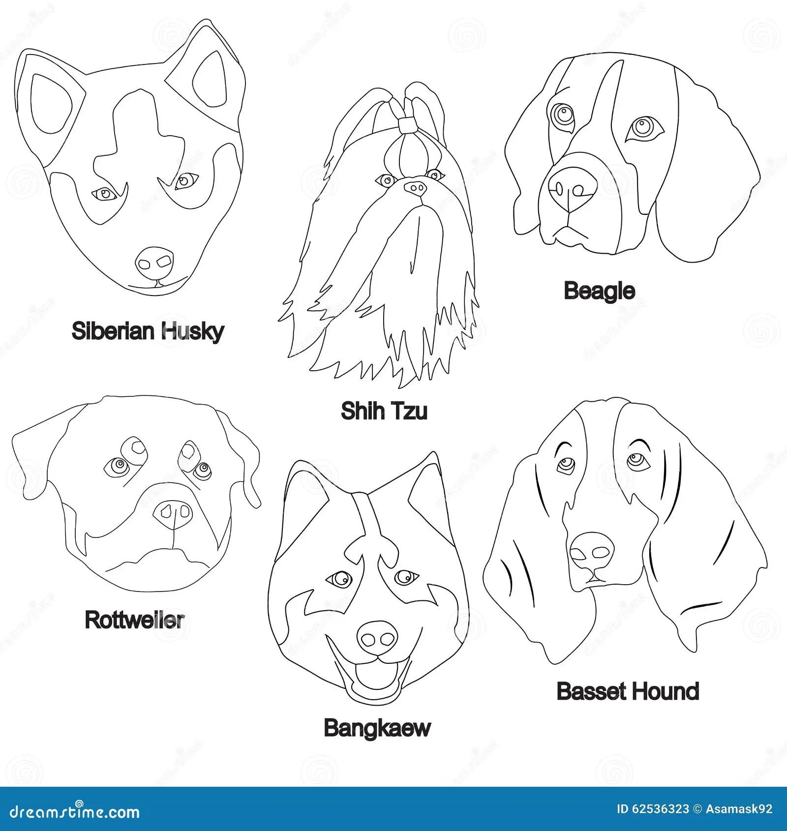 Black White Dog Face Set Stock Vector