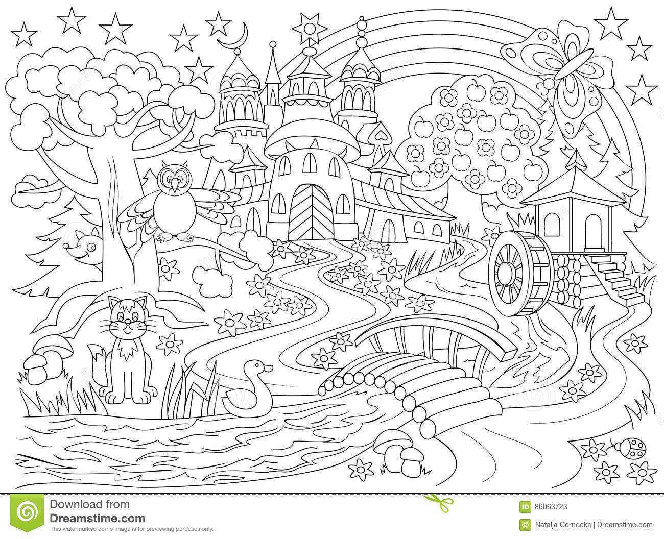Black And White Drawing Of Fairyland Country Me Val Castle In The Magic Forest For Coloring