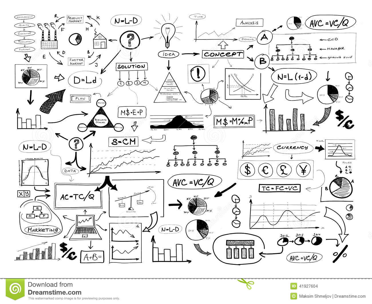 Black And White Drawing Of Many Different Business